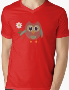 Owl with Flower Mens V-Neck T-Shirt