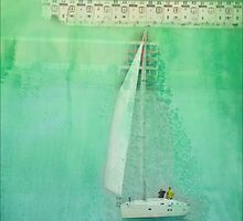 White Sail Boat Plus Green Blue Texture by andymars