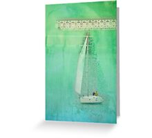 White Sail Boat Plus Green Blue Texture Greeting Card
