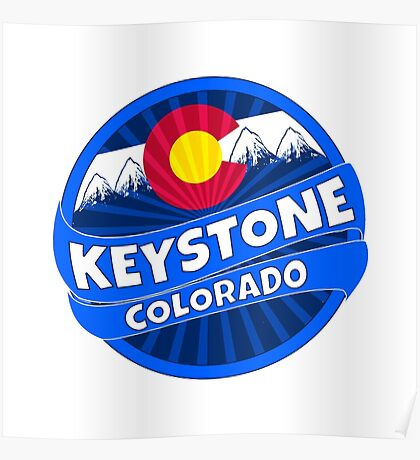 Keystone Colorado flag mountain burst Poster