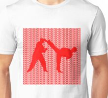 Karate Side Kick With Text Background Red Unisex T-Shirt