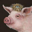 Pig with nest hat by Vicki Sawyer