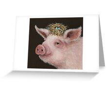 Pig with nest hat Greeting Card