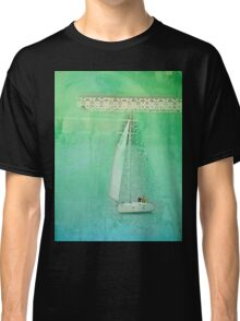 White Sail Boat Plus Green Blue Texture Classic T-Shirt