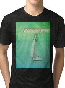 White Sail Boat Plus Green Blue Texture Tri-blend T-Shirt