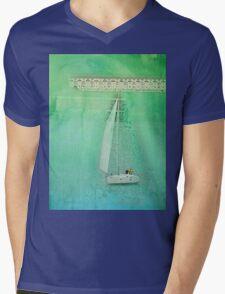 White Sail Boat Plus Green Blue Texture Mens V-Neck T-Shirt