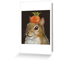 Squirrel with carrot and pea Greeting Card
