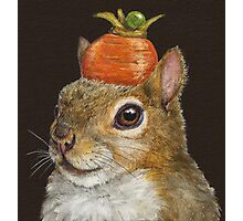 Squirrel with carrot and pea Photographic Print