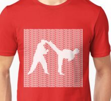 Karate Side Kick With Text Background White  Unisex T-Shirt