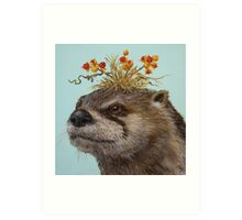 Otter with Bittersweet Hat Art Print