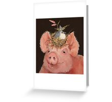 Pig and Titmouse Greeting Card