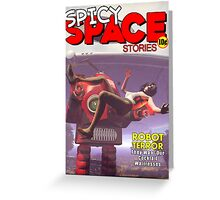 Spicy Space Stories Fake Pulp Cover Greeting Card