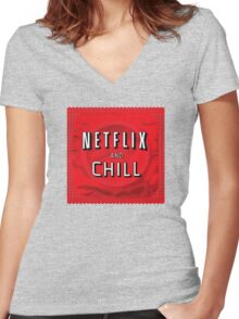 Netflix and chill - condom Women's Fitted V-Neck T-Shirt