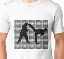 Taekwondo Side Kick Small Text Black  Unisex T-Shirt