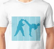 Taekwondo Side Kick Small Text Blue  Unisex T-Shirt