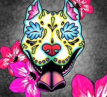 Day of the Dead Slobbering Pit Bull Sugar Skull Dog by prettyinink
