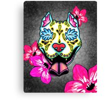 Day of the Dead Slobbering Pit Bull Sugar Skull Dog Canvas Print