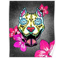 Day of the Dead Slobbering Pit Bull Sugar Skull Dog Poster