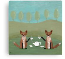 Foxes for Tea Canvas Print