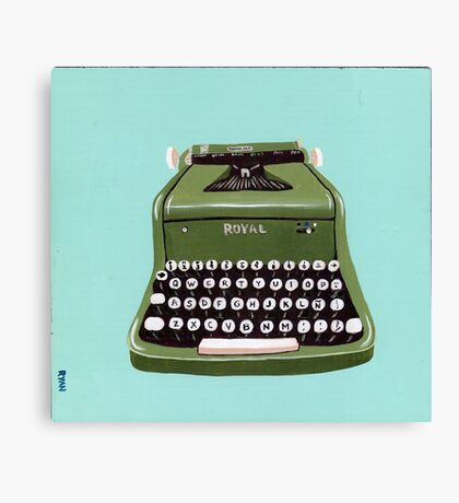 Green Royal Typewriter Canvas Print