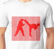 Taekwondo Side Kick Small Text Red  Unisex T-Shirt