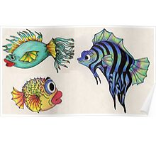 Cartoon Fish Illustration Poster