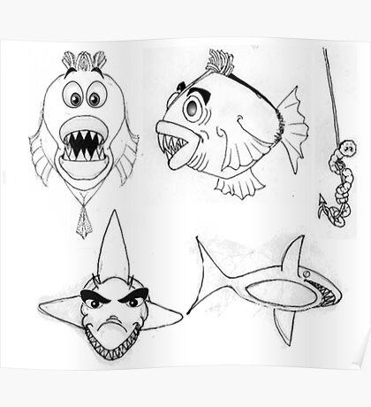 Fish Cartoon Illustration 2 Poster