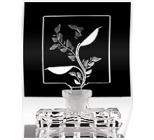 Perfume Bottle with Leaves Poster