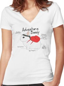 Adventure Bunny Women's Fitted V-Neck T-Shirt