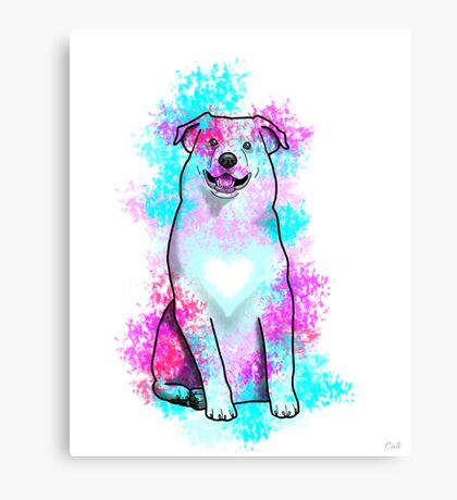 Australian Shepherd in Watercolor Splash Canvas Print