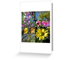 Autumn Leaves and Flowers Collage in Mirrored Frame Greeting Card