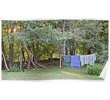 Clothes Line At Dusk - Sun Sets On Damp Towels Poster