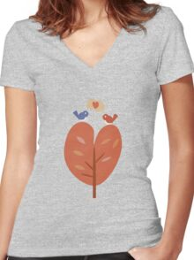 SweetyBirds - Love Birds Women's Fitted V-Neck T-Shirt