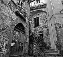 Doors-Corniglia street B&W by Tom Davidson