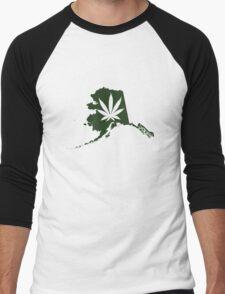 Alaska State Pot Leaf Men's Baseball ¾ T-Shirt