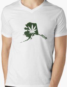 Alaska State Pot Leaf Mens V-Neck T-Shirt