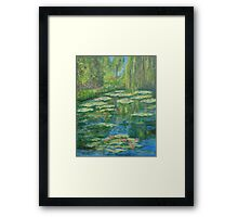 Water Lily pond with weeping willow Framed Print