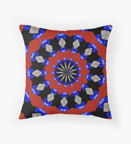 Red Gray Blue Kaleidoscope Throw Pillow