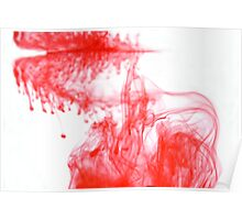 Red Ink spreading through water Poster