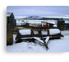 Farmyard metal - Christmas day snowscape Canvas Print