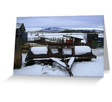 Farmyard metal - Christmas day snowscape Greeting Card