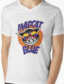 Mad Cat Blue Mens V-Neck T-Shirt