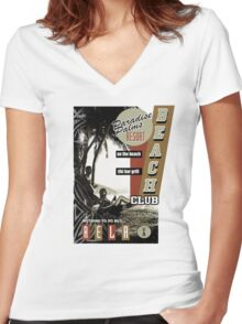PARADISE PALMS Women's Fitted V-Neck T-Shirt