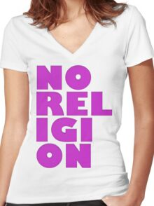 NORELIGION PINK Women's Fitted V-Neck T-Shirt
