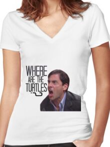 Michael Scott - Where Are the Turtles? Women's Fitted V-Neck T-Shirt