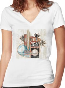 BOARD ROOM MOTEL Women's Fitted V-Neck T-Shirt