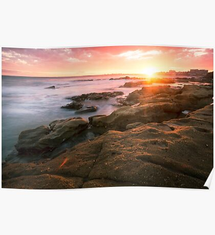 Rocks and waves at Kings Beach, Queensland Poster