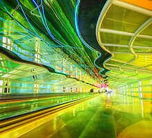 Moving Walkway at Chicago O'Hare, Terminal 1 by Ted Lansing