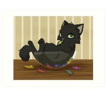 Kitty candy thief Art Print