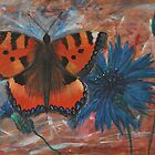 butterfly on cornflower  by Inese